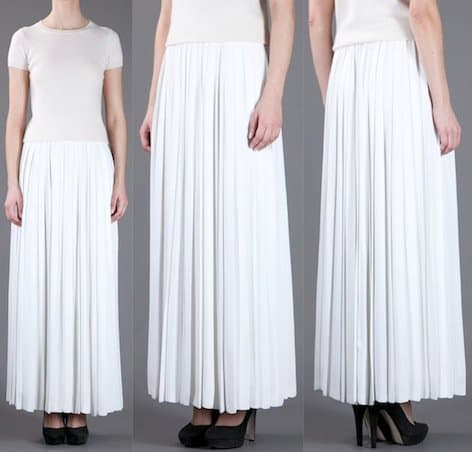 Diorling Pleated Maxi Skirt in White