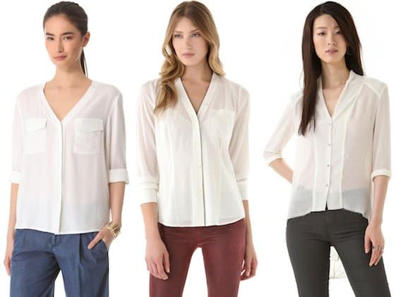 Alice + Olivia Donnie Blouse in White /DKNY V-Neck Blouse with Contrast Piping in Ivory/Black / Helmut Lang Fray Shirt in Zinc