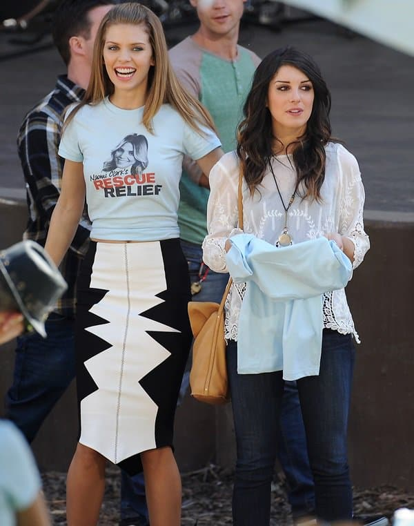 AnnaLynne McCord and Shenae Grimes rocking it at a concert for a scene on the set of the hit tv show 'Beverly Hills 90210'