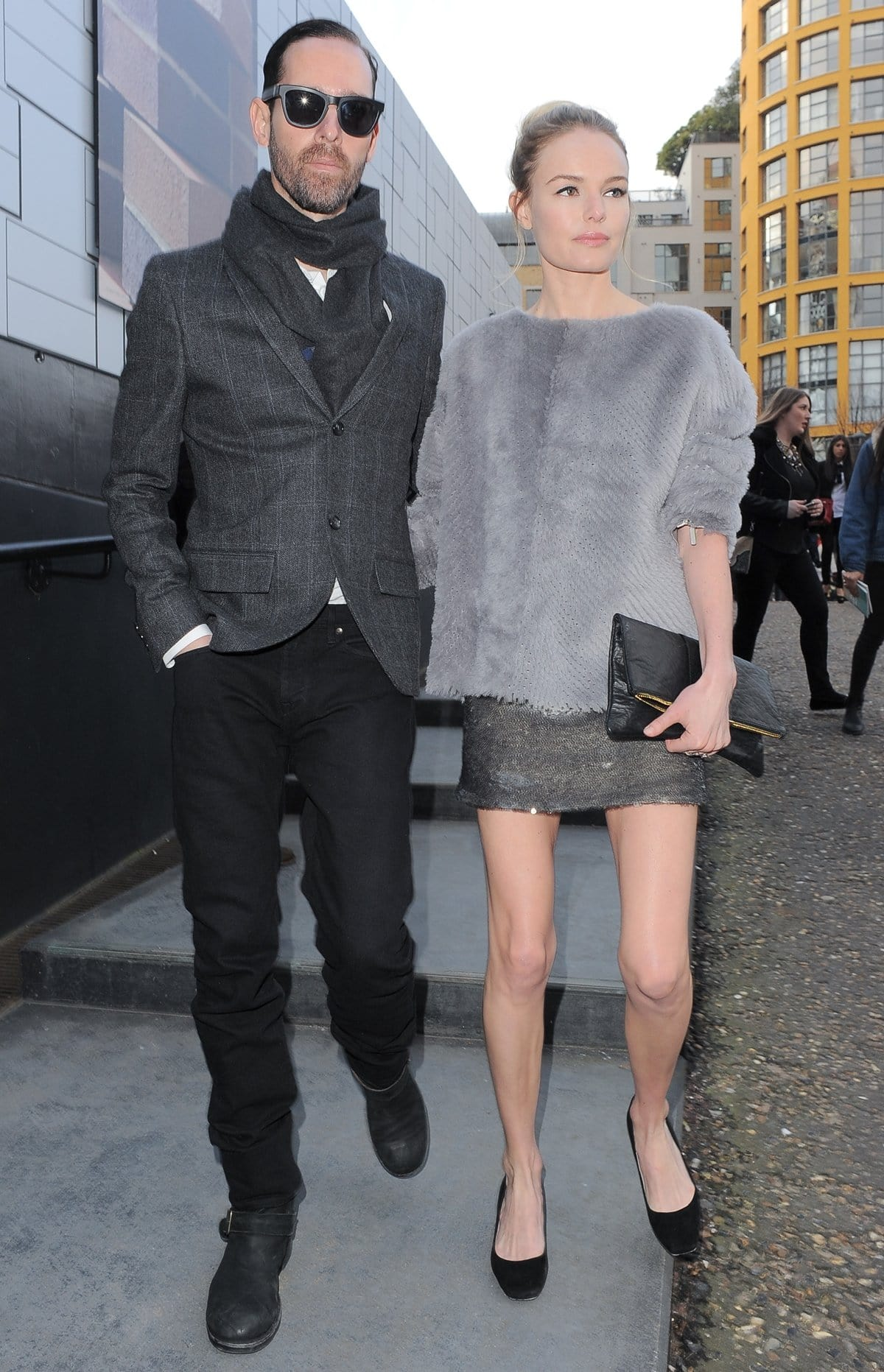 Michael Polish and Kate Bosworth arriving at Topshop Unique show