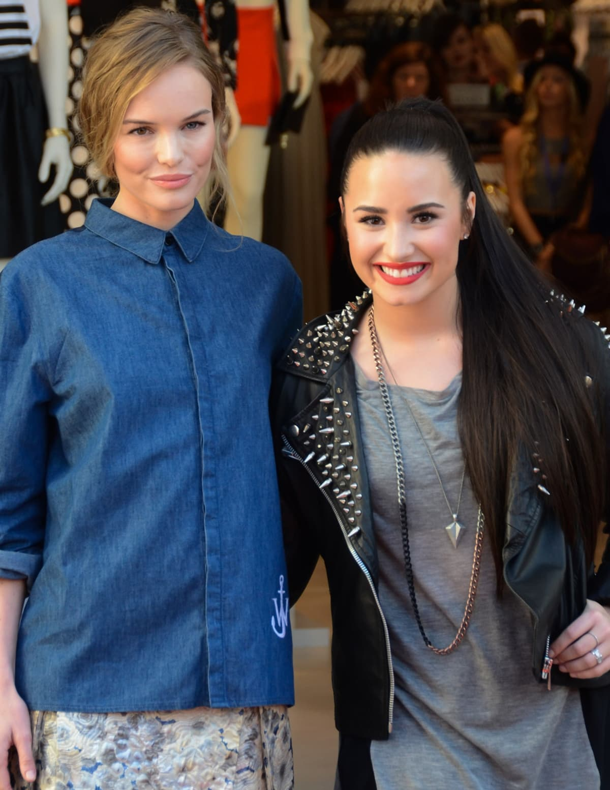 Kate Bosworth and Demi Lovato attend the grand opening of the Topshop Topman LA Store