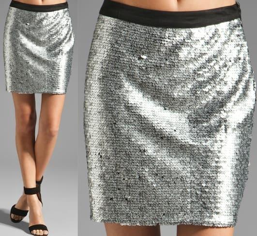 Ladakh Show Stopper Sequin Skirt in Matte Silver