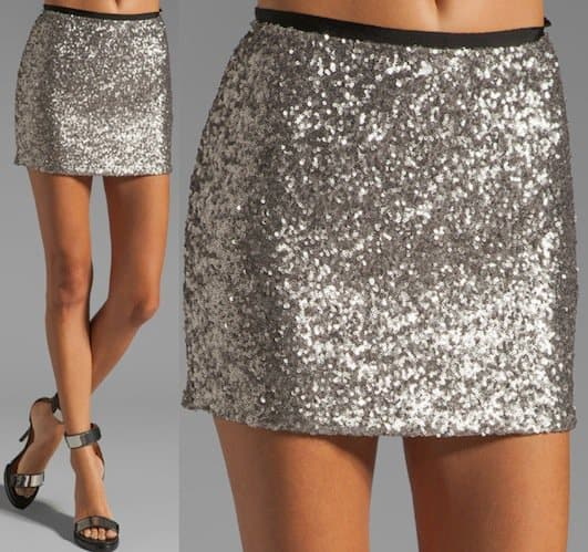 MM Couture Short Sequin Skirt in Silver