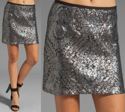 Nanette Lepore Disco Lady Sequin Skirt in Silver