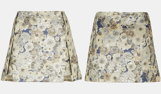 Topshop Floral Jacquard Skirt in Ice Blue