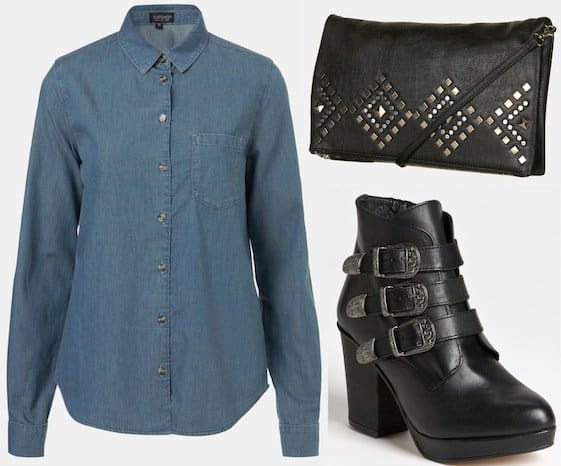 Topshop chambray shirt, studded clutch bag and ankle boots