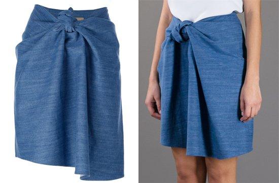 Christian Wijnants Tied Denim Skirt