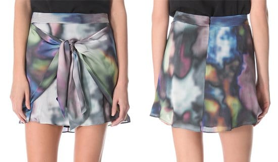 Blurred, mottled colors cloud this silk-charmeuse Theyskens' Theory skirt, which is fashioned with a pair of draped sashes