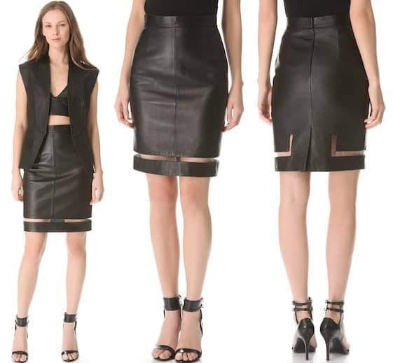 Alexander Wang Leather Fishline Pencil Skirt in Black