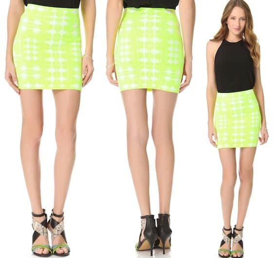 BCBGMAXAZRIA Simone Ikat Skirt in Neon Yellow Combo