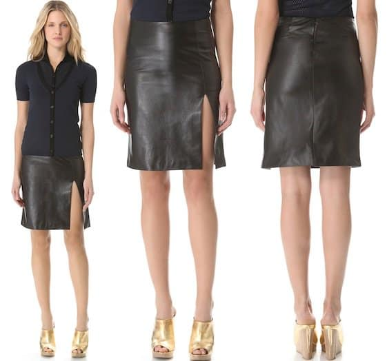 M. PATMOS Ernst Leather Skirt in Black