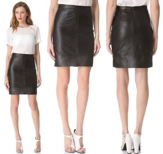Tibi Leather Pencil Skirt in Black
