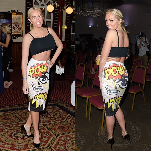 Aisleyne Horgan-Wallace Topshop Kaboom tube cartoon skirt Essex Fashion Week 2