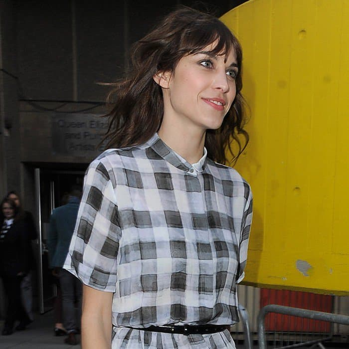 Alexa Chung leaving a Vogue magazine seminar and returning home in London on April 27, 2013