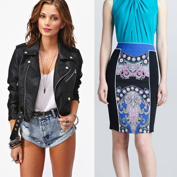 Casual printed pencil skirt with a leather jacket