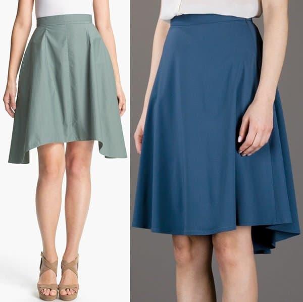 Carven Asymmetrical Hem Poplin Skirt in Sage and Amen Pleat Flared Skirt in Blue