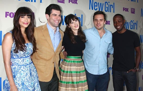 Hannah Simone, Max Greenfield, Zooey Deschanel, Jake Johnson, and Lamorne Morris at FOX's 'New Girl' special screening at Leonard H. Goldenson Theatre in Los Angeles on April 30, 2013