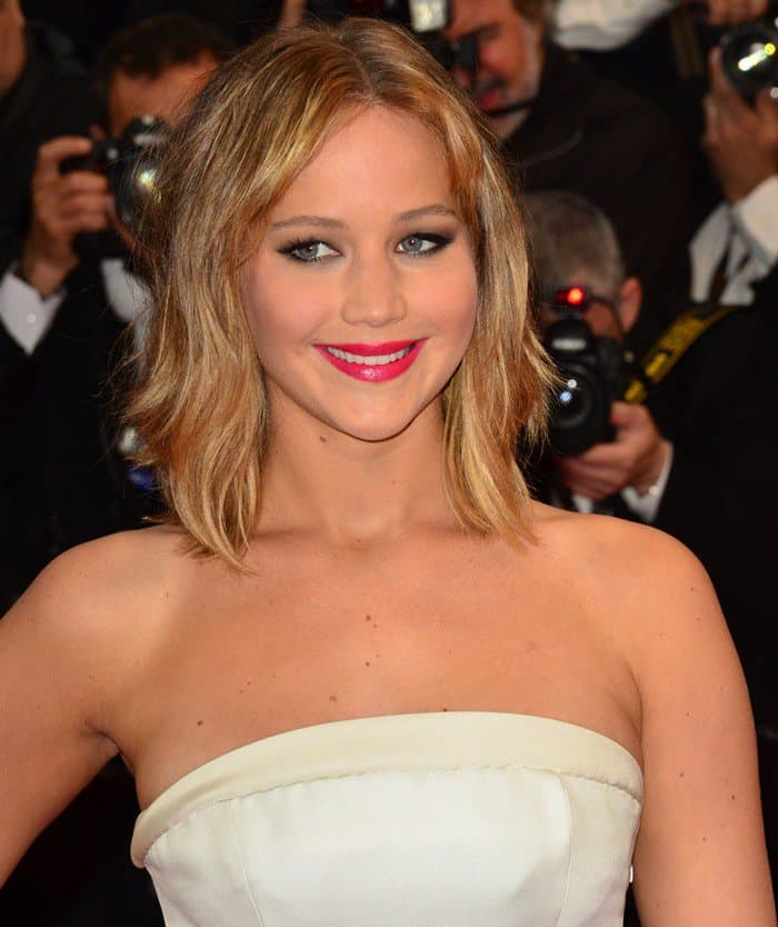 Jennifer Lawrence in Christian Dior at the 66th Cannes Film Festival for the premiere of 'Jimmy P. Psychotherapy of a Plains Indian' at Cannes on May 18, 2013