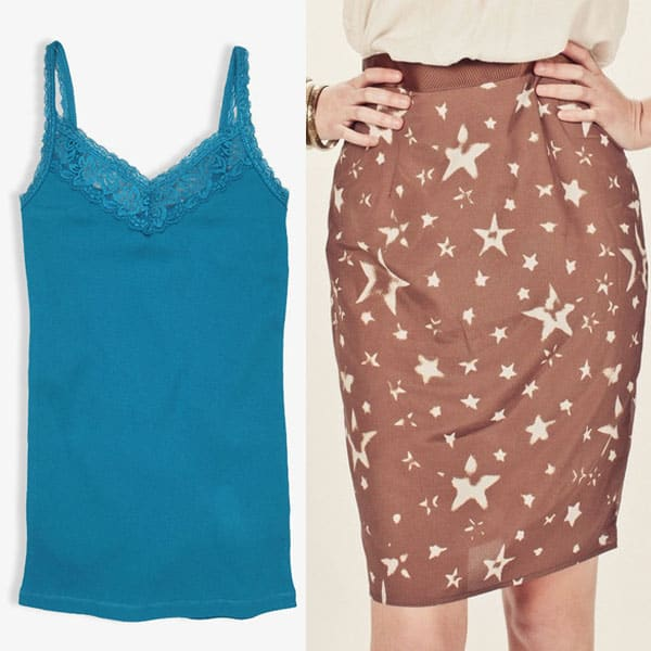 Star printed pencil skirt with a blue top