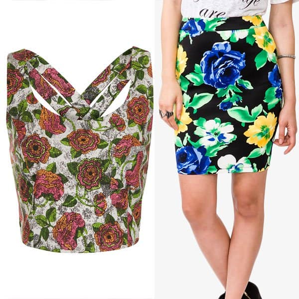 Floral pencil skirt paired with a floral top