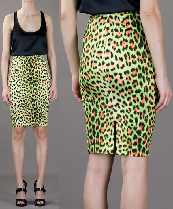 Just Cavalli Leoaprd Print Pencil Skirt in Green