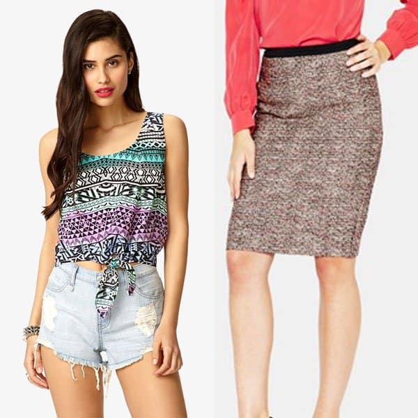 Chic outfit with woven pencil skirt