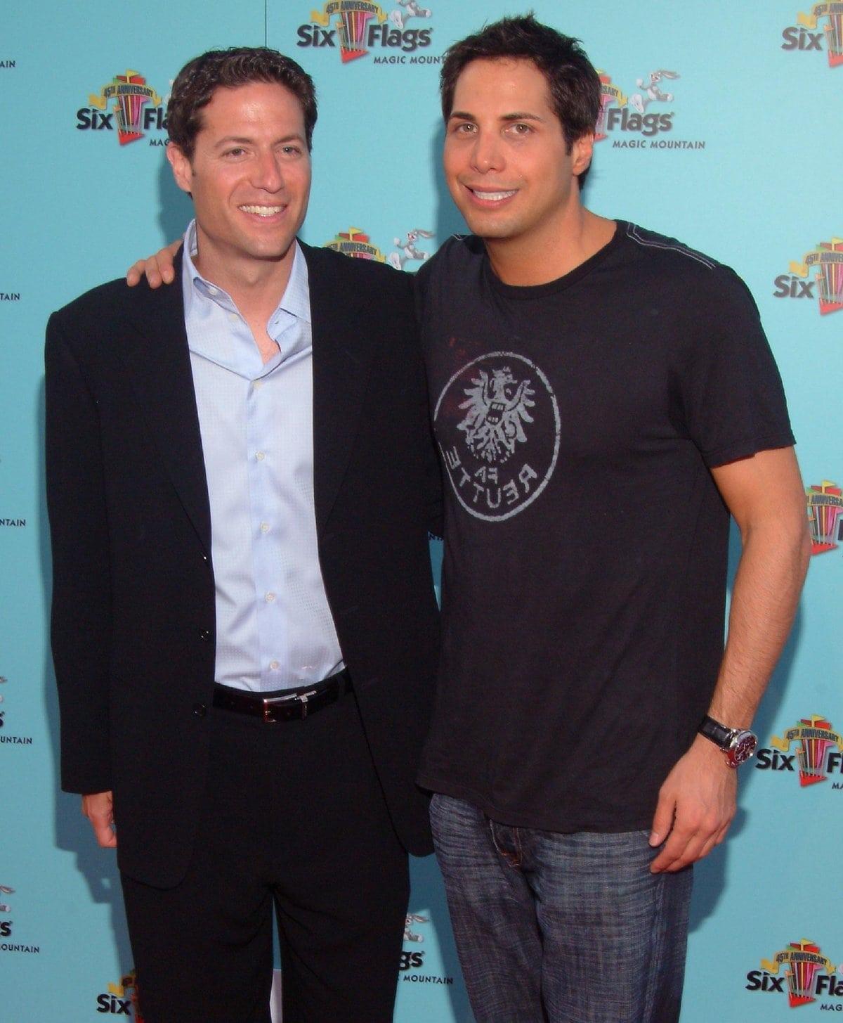 Mark Shapiro (L) arrives at Six Flags Magic Mountain to help Joe Francis celebrate his birthday