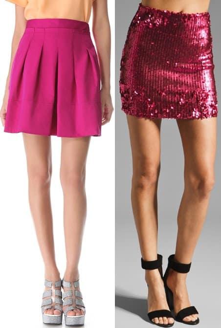 Nanette Lepore Circuit Skirt in Azalea and Dress The Population Alice Sequin Mini Skirt in Fuchsia