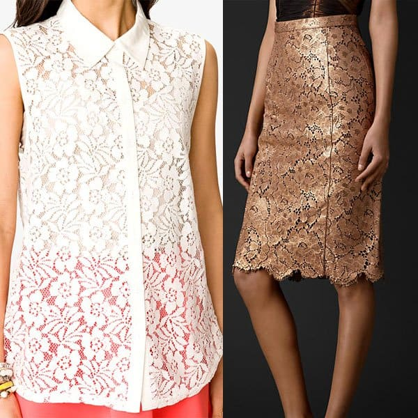 Lace top paired with a laser-cut leather pencil skirt