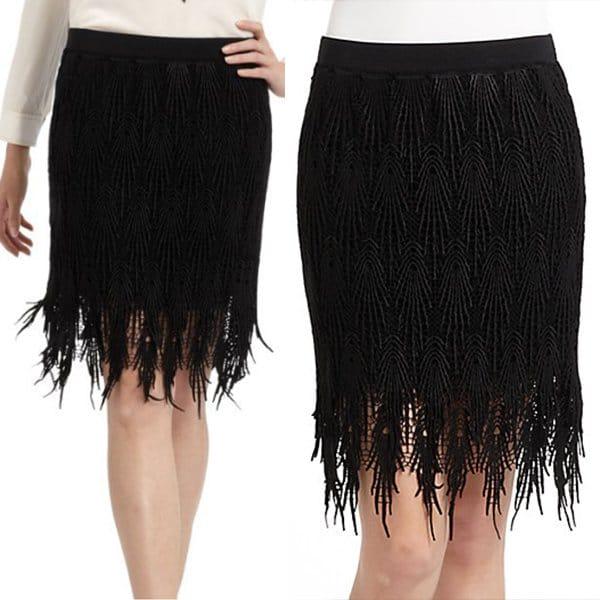 Vivienne Tam Fringe Skirt
