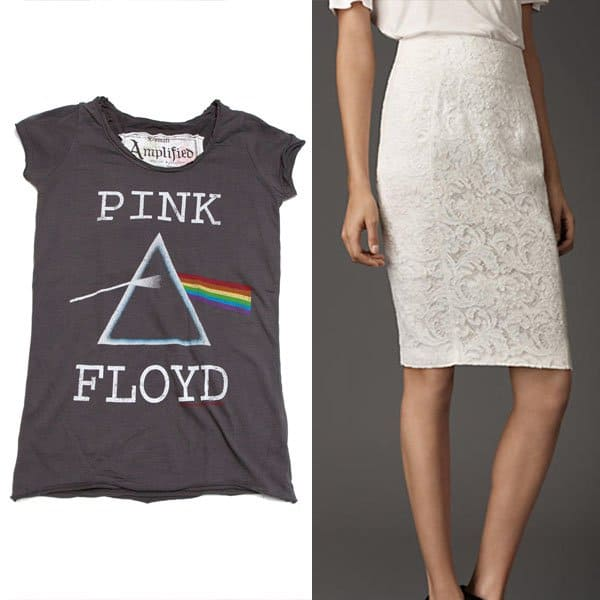 Pink Floyd Dark Side of the Moon t-shirt with a Burberry lace pencil skirt