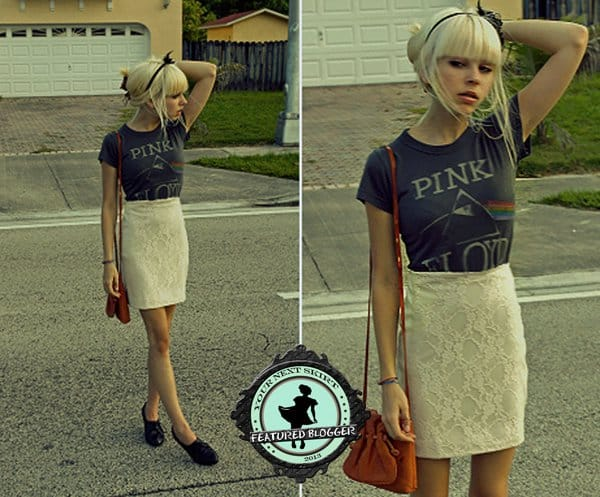 Zoe paired a graphic rock band tee with a lace pencil skirt