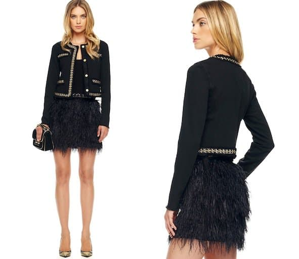 MICHAEL Michael Kors Ostrich-Feather Skirt in Black