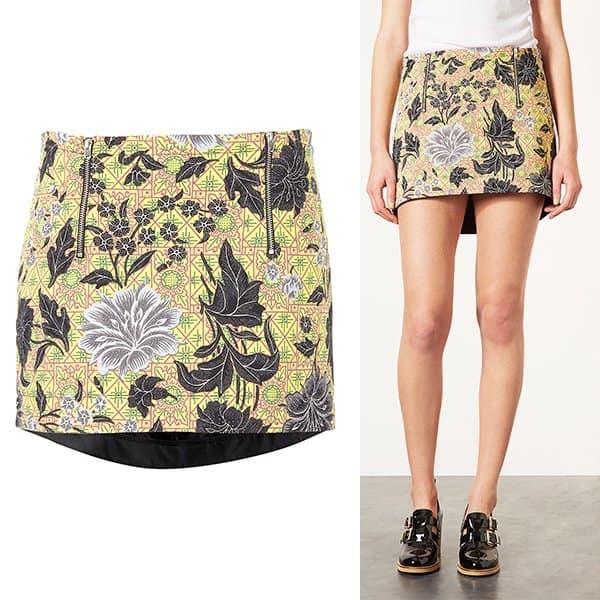 Topshop Floral Tile Pelmet Skirt