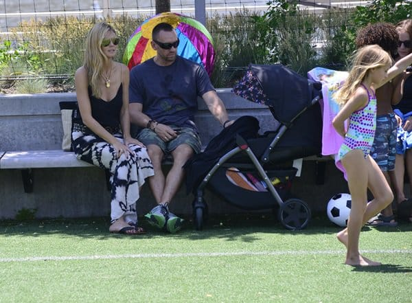 Heidi Klum seen having a play date with her children and boyfriend in a park in New York City on June 20, 2013