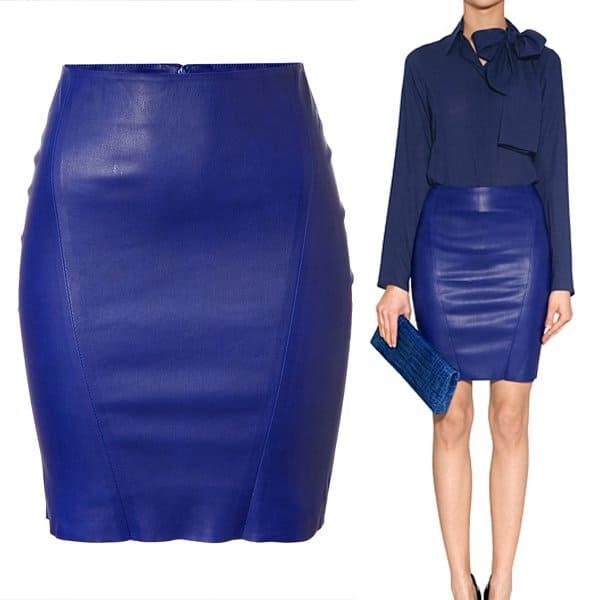 Jitrois Blue Stretch Leather Skirt