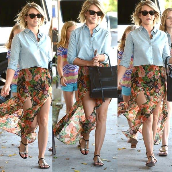 Julianne Hough wearing Topshop's floral double split maxi skirt