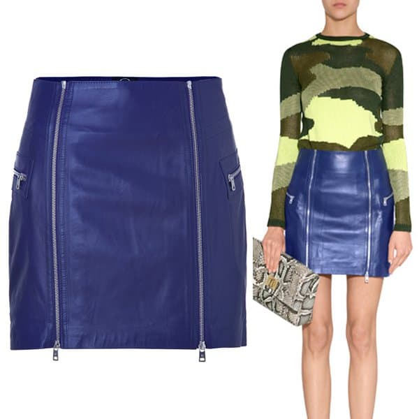 McQ Alexander McQueen Cobalt Blue Leather Zip Detailed Mini-Skirt