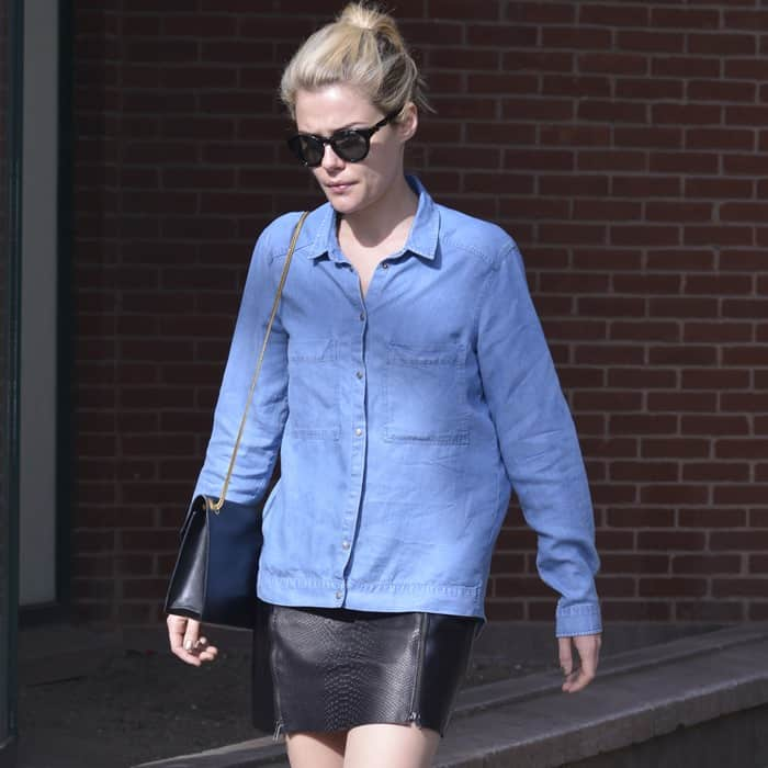Rachael Taylor was seen clad in a leather pencil skirt