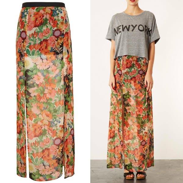 Topshop Floral Double Split Maxi Skirt