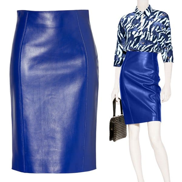 Versace Electric Blue Leather Skirt