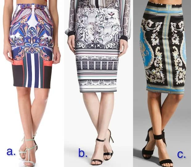 Printed high-waist pencil skirts