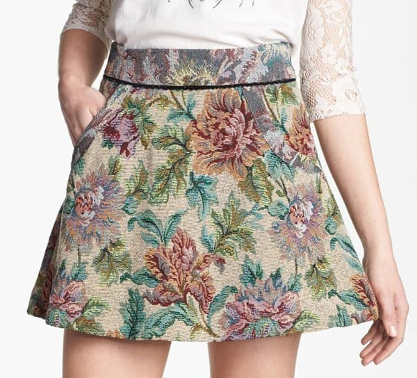 Free People Tapestry Skirt in Natural Combo