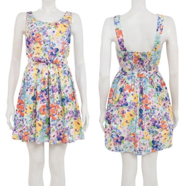 New Look Blue Floral Sleeveless Skater Dress