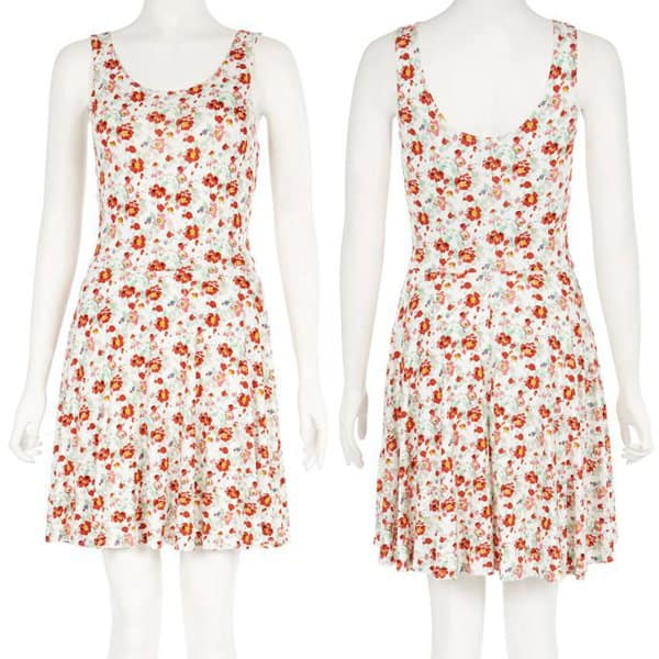 New Look Cream and Red Floral Sleeveless Skater Dress