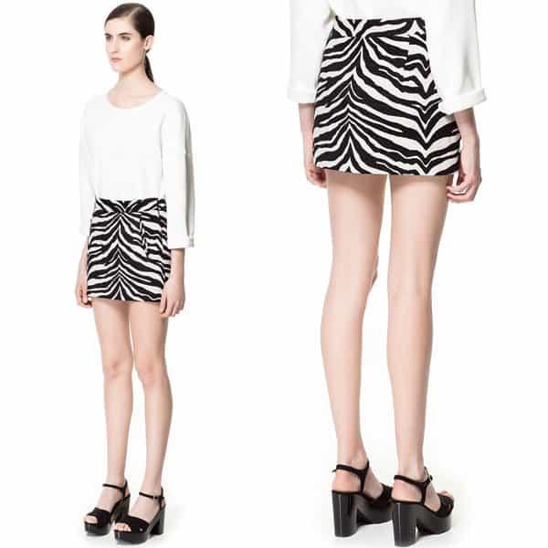 Zara Zebra Pattern Jacquard Mini Skirt