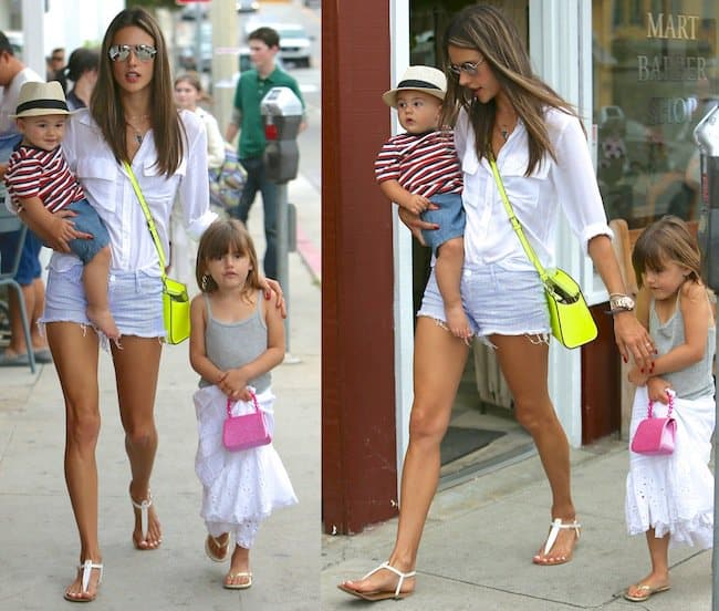 Alessandra Ambrosio leaving Calypso at the Brentwood Country Mart and then getting ice cream with her children Noah and Anja