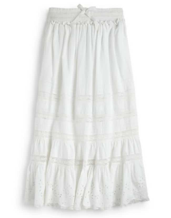 Ralph Lauren Girl's Lace Embroidered Maxi Skirt in White
