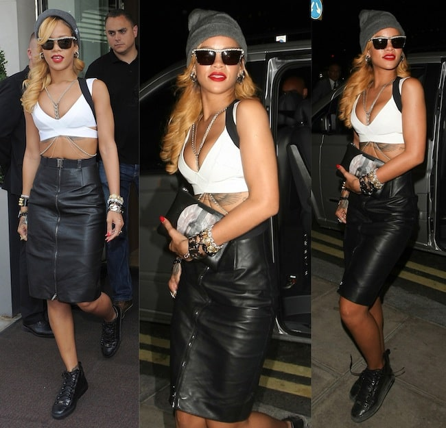 Rihanna Wearing a Suspender Skirt