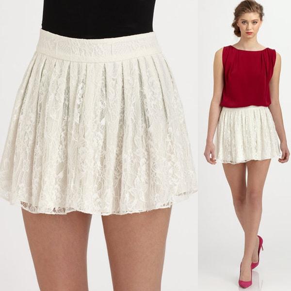 Alice + Olivia Rei Lace Mini Skirt